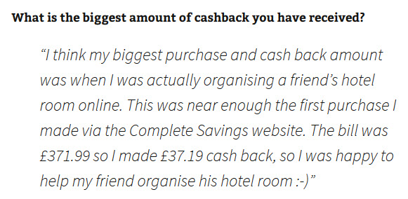 James C. - a Complete Savings testimonial about saving cashback