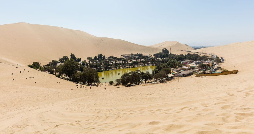 Huacachina Peru is an oasis in the middle of the desert